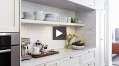 Functional Rowhouse Kitchen & New Paint Trends | House & Home    subway tile behind shelving adds a lot of character