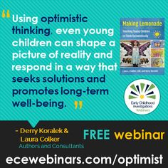 Q&A from: Making Lemonade: Teaching Young Children to Think Optimistically, by Derry Koralek and Laura J. Self Efficacy, Youngest Child, Social Stories, Negative Thoughts, Book Making, Young Children, Fun To Be One, Early Childhood, Problem Solving
