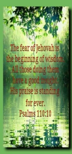The fear of Jehovah is the beginning of wisdom.