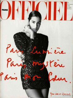 Yasmeen Ghauri featured on the L'Officiel France cover from April 1990