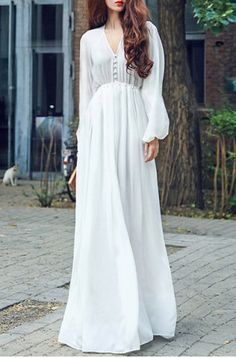Refreshing V-Neck Solid Color Long Sleeve Chiffon Maxi Dress For Women
