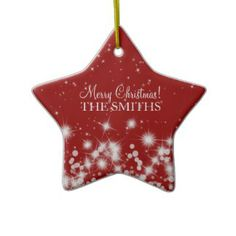 Shop Merry Christmas Elegant Winter Sparkle Ruby Red Ceramic Ornament created by Personalize it with photos & text or purchase as is! Unusual Christmas Gifts, Homemade Christmas Decorations, Christmas Gifts For Boyfriend, Boyfriend Gifts, Wedding Gift Ornaments, Red Ornaments, Blue Christmas, Merry Christmas, Candy Bar Cards