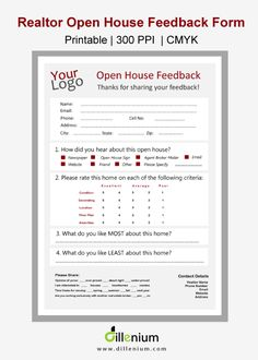 Real estate open house feedback form for realtor