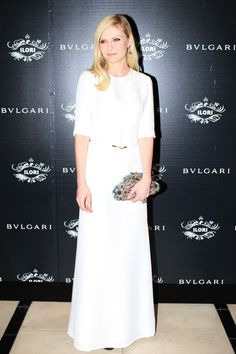 Kirsten Dunst Wears White After Labor Day, And We Love It:   Kirsten Dunst, in Bulgari jewels and a Derek Lam dress.