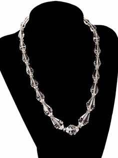 Vintage Estate Jewelry Art Deco Rock Crystal Necklace Sterling Clasp 1920S