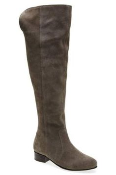 Grey Knee Length Suede Flat Boots from the Next UK online shop