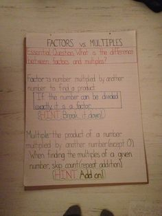 grade math lesson on the difference between factors and multiples - a common misconception. Think of it as a the number being factored as a moody person. F is for fine! And factor like FINE! Take me apart to see what I'm made of! 4th Grade Multiplication, 4th Grade Math, Teaching Tools, Teaching Math, Elementary Teaching, Factors And Multiples, Math Classroom, Classroom Ideas, Math Anchor Charts