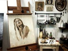 home studio, hanging shelves