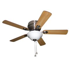 Harbor Breeze Mayfield 44-in Brushed Nickel Flush Mount Indoor Residential Ceiling Fan Lighting Technology Included (5-Blade)