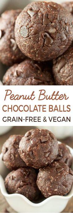 No-bake Chocolate Peanut Butter Protein Balls (vegan, gluten-free, grain-free, dairy-free)