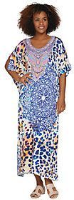 Ellen Tracy Silky Smooth Long Caftan with Bib Detail