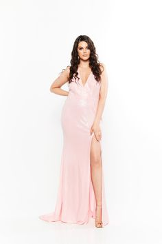 Curve Plus Size Dresses Curve Prom Dresses, Formal Dresses, Sequin Gown, Pink Sequin, Thigh Highs, Plus Size Dresses, Kylie, Sequins, Gowns