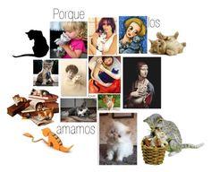 """""""AMO LOS GATOS Y LA MÍA A MI..."""" by edeldiva ❤ liked on Polyvore featuring art and cats"""