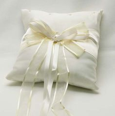 Wedding Ring Bearer Pillow - 2 Ivory Bows with Pearl Stud