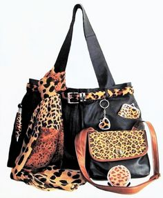 Brown Leopard Print Accents SWAG BAG SET $45 SHOP NOW http://www.ebay.com/itm/Leather-Swag-Tote-Bag-Set-Upcycled-Eco-Friendly-Have-Heart-Daily-Brown-Leopard-/162294922104
