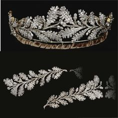 FROM THE COLLECTION OF THE HON. DAISY FELLOWES Diamond tiara, early 19th century. Designed as two confronting sprays of oak leaves tapering from the centre, ...