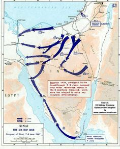 Israel :: Map of 6 Day War - Sinai Egyptian Front - June, 1967