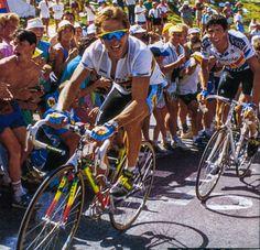 Greg LeMond climbs ahead of Miguel Indurain at the 1990 Tour de France.