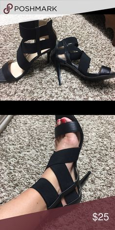 Nine West black scrappy high heels 7.5 In perfect used condition! Worn 3-4 times! Size 7.5. Nine West Shoes Heels