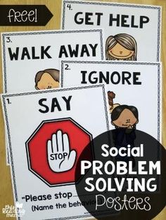 Problem Solving Posters {FREE FREE Social Problem Solving Posters - great for the classroom wall! - This Reading MamaFREE Social Problem Solving Posters - great for the classroom wall! - This Reading Mama Social Emotional Activities, Teaching Social Skills, Social Skills Lessons, Teaching Art, Art Lessons, Emotional Support Classroom, Social Stories Autism, Positive Behavior Support, Guidance Lessons