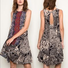 EMMA keyhole Tribal Tank Dress - BLACK mix Tribal Tank Dress -  Fabric 100% RAYON NO TRADE, PRICE FIRM Bellanblue Dresses