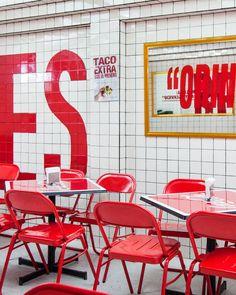 Condesa Taco Joint Open till 4 a. Container Restaurant, Restaurant Bar, Cafe Design, Store Design, Café Bistro, Typography Layout, Workspace Design, Restaurant Interior Design, Shop Front Design