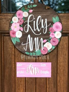 Handmade and Hand lettered home decor by PumpkinsPorch Baby Door Hangers, Hospital Door Hangers, Wooden Door Hangers, Floral Nursery, Nursery Decor, Bedroom Decor, Wooden Shapes, Spring Sign, Floral Baby Shower