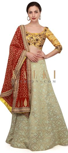 Pista green lehenga featuring in crepe silk weaved in geometric motif. Matched with brocade silk blouse in yellow and embellished in floral motif. Lehenga Choli, Sari, Yellow Lehenga, Floral Motif, Blouse, Fashion, Saree, Moda, Fashion Styles
