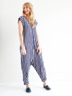 Sea NY Striped Jersey Jumpsuit - Blue/White