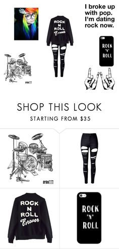 """rock & roll bro"" by corpseskeleton ❤ liked on Polyvore featuring WithChic, High Heels Suicide and Casetify"