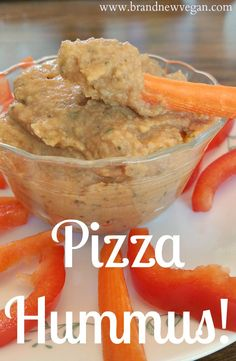 A smooth creamy fat-free hummus dip with the addition of tomato paste and pizza spices that will be sure to please.  Pizza Hummus?  Yes please!