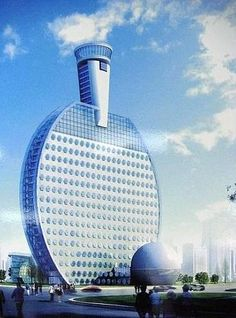 East China city to build ping-pong hotel. A hotel designed in the shape of a ping-pong racket will be built in Huainan city, East China's Anhui province! Unusual Buildings, Interesting Buildings, Amazing Buildings, Modern Buildings, Future Buildings, Famous Buildings, Futuristic Architecture, Beautiful Architecture, Art And Architecture