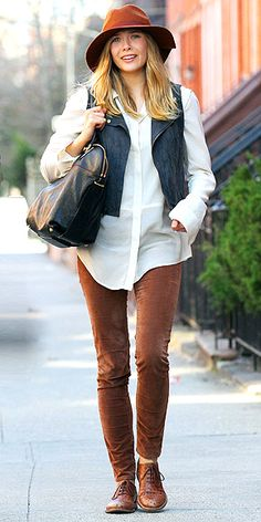 "ELIZABETH OLSEN  The actress expresses her independence in a white blouse and brown pants topped off with a matching cap, leather vest and Chloé ""Angie"" bag while heading to the Brooklyn set of Kill Your Darlings."