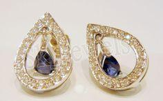 1.02ct NATURAL DIAMOND SAPPHIRE 14K YELLOW GOLD WEDDING ANNIVERSARY  EARRING  #Sk_Jewels #Stud