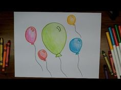 How To Draw Balloons - Very Easy Beginner Drawing Lesson for Kids - YouTube