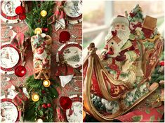 Celebrate Christmas at the table with traditional red and green, an evergreen runner, paisley, plaid and St. Nick with assorted forest friends plates. 'Twas two weeks before Christmas, we're still … Christmas Wreaths, Christmas Decorations, Table Decorations, Holiday Decor, Christmas Ideas, Christmas Table Settings, Christmas Tablescapes, Mikasa French Countryside, Beaded Napkin Rings