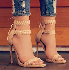 Ankle strapped peep toes stilettos
