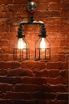 Wall Double Pendant Industrial Pipe Light by WestNinthVintage, $165.00