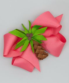 Take a look at this Pink Palm Tree Bow Clip by Picture Perfect Hair Bows on #zulily today!