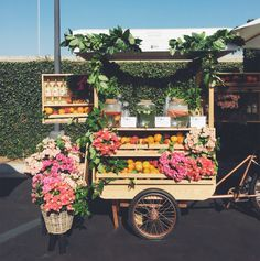 Spent the day at the Goop Health Summit. Loving this flower cart! Flower Truck, Flower Bar, Cactus Flower, Flower Market, Flower Shops, Fruit Stands, Farm Stand, Flower Stands, Beautiful Flowers