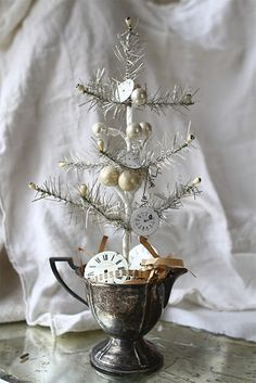 tinsel tree in a silver compote