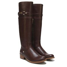 Get a classic riding look with a new touch in the Garis 2 Riding Boot from Tommy Hilfiger.Faux leather upper in a knee high riding boot style with a round toeStrap and stud detailingInside zip entrySmooth lining, cushioning insoleTraction outsole, 1 inch heel