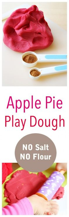 This Beautiful Apple Pie Play Dough made with NO SALT OR FLOUR is so easy to make and is great for a great sensory activity for children! (How To Make Playdough With Flour) Apple Activities, Autumn Activities, Sensory Activities, Preschool Activities, Sensory Play, Nursery Activities, Sensory Table, Sensory Bins, Preschool Writing