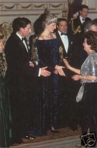 February 11, 1987: Prince Charles & Princess Diana at a dinner hosted by President Mario Soares at The Ajuda Palace in Lisbon, Portugal.