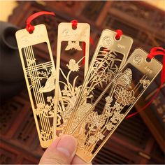 1 Pc Cute Hawaiian Beautiful Chinese Style Retro Fine Metal Bookmarks Student And School Stationery #Affiliate
