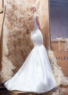 Ivory silk satin trumpet bridal gown by Haley Paige.