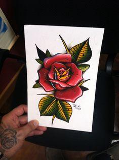 6x9 original spitshade watercolor rose tattoo flash painting by David Meek Tattoos of Fast Lane Tattoo