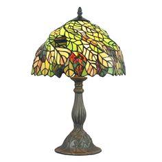 (EU Lager)Tiffany Tischleuchte Bunte Blätter Design D30cm 1-flammig im Schlafzimmer