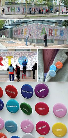 reactions to contemporary art button installation in Vancouver (by Rethink)