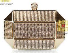 Luxury Party Clutch Bag Iron Box Full Diamond Evening Bag Clutch Solid Purse Diamond Wedding Handbag NO0182 Black Silver Gold